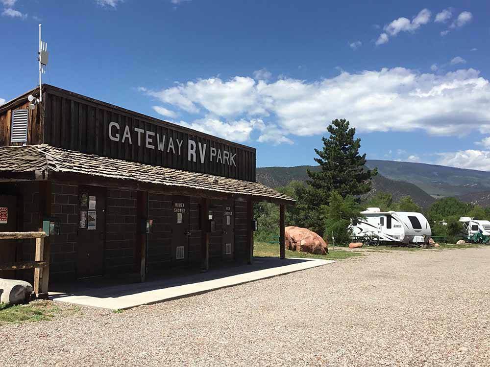 The main entrance building at GATEWAY RV PARK