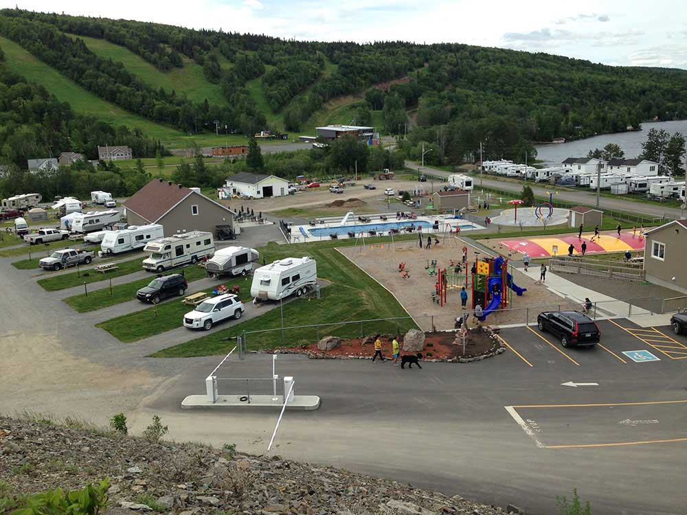 Aerial view over campground at KOA BAS-ST-LAURENT CAMPGROUND