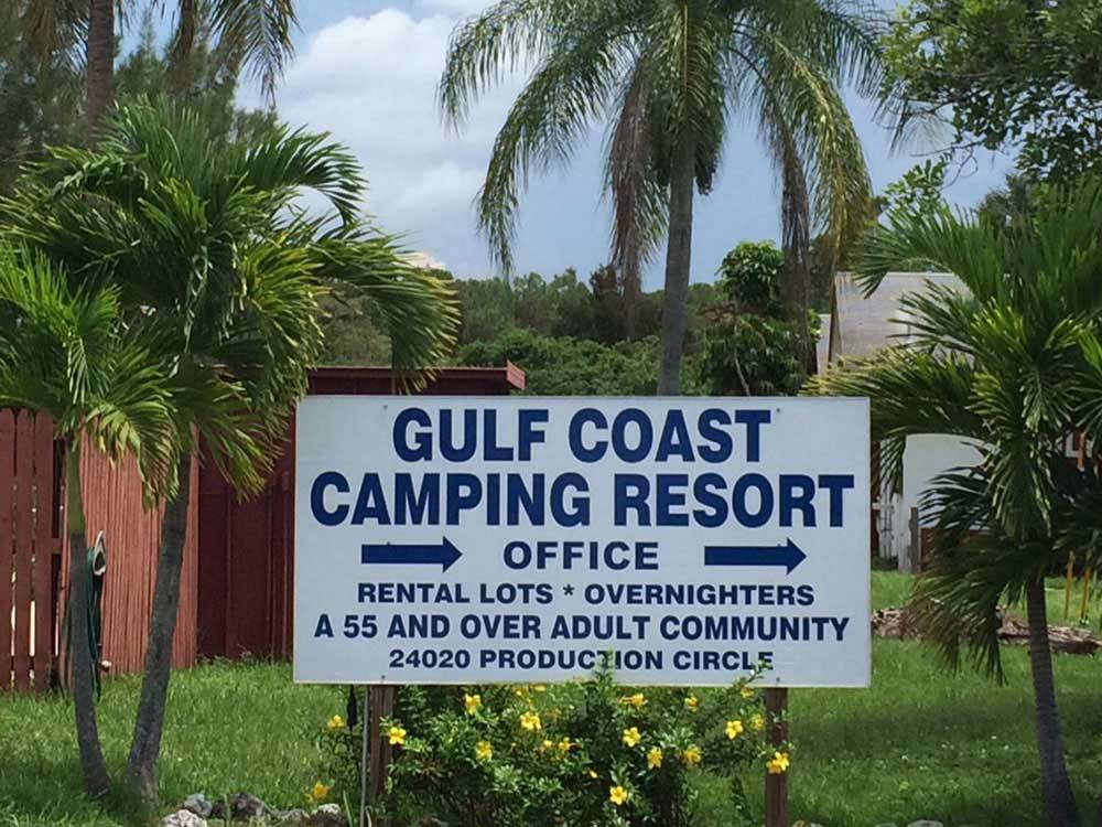 Sign at entrance to the park at GULF COAST CAMPING RESORT