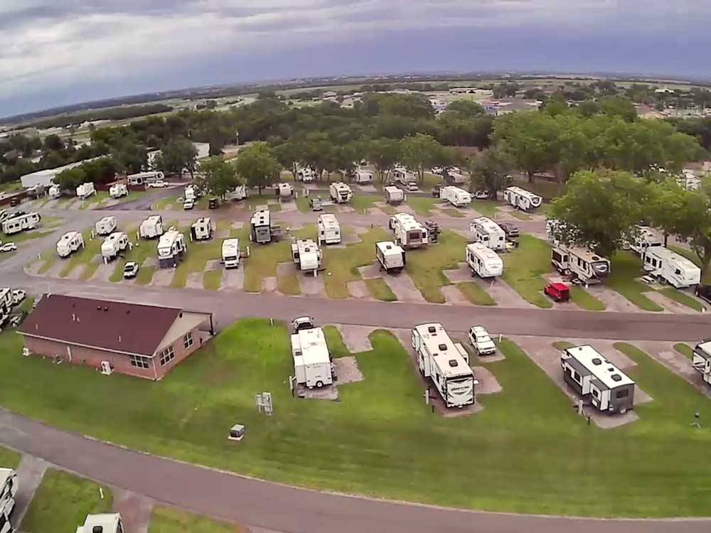 Aerial view over campground at PECAN GROVE RV RESORT