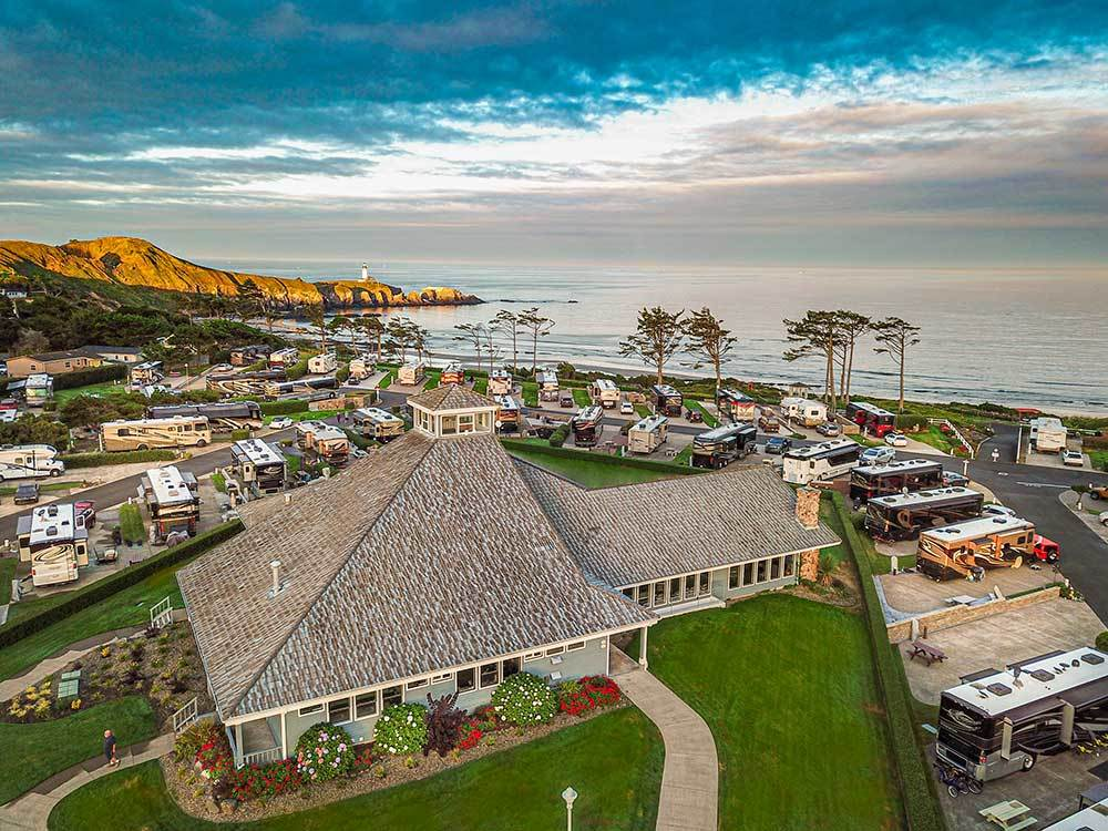 Aerial view of the resort and ocean at PACIFIC SHORES MOTORCOACH RESORT
