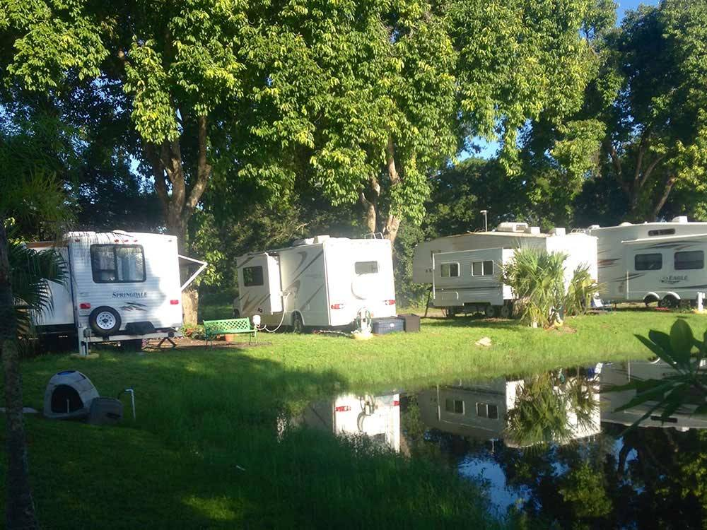 Trailers at campsite at LAZY J RV  MOBILE HOME PARK