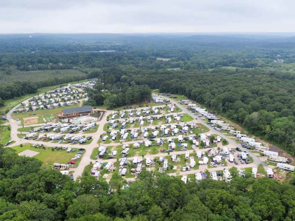An aerial view of the campground at ASHAWAY RV RESORT
