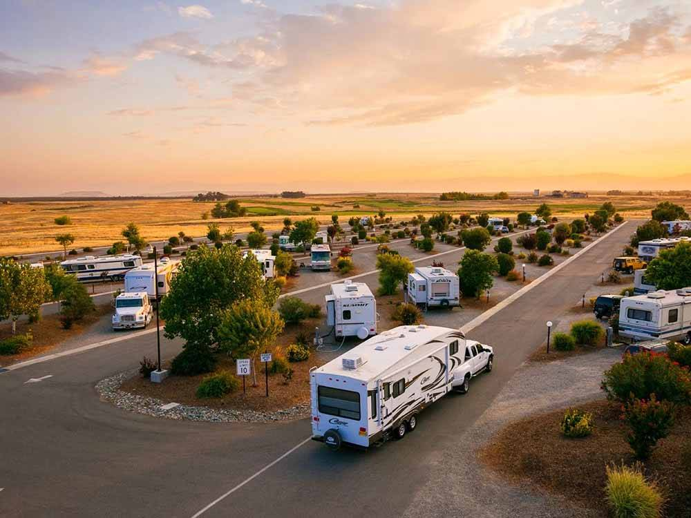 An aerial view of the RV sites at THE RV PARK AT ROLLING HILLS CASINO AND RESORT