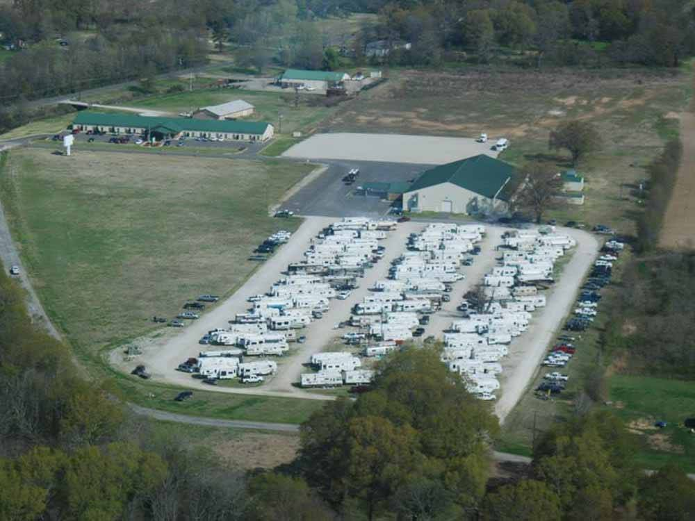 An aerial view of the RV sites at 7 OAKS RV CAMPGROUND