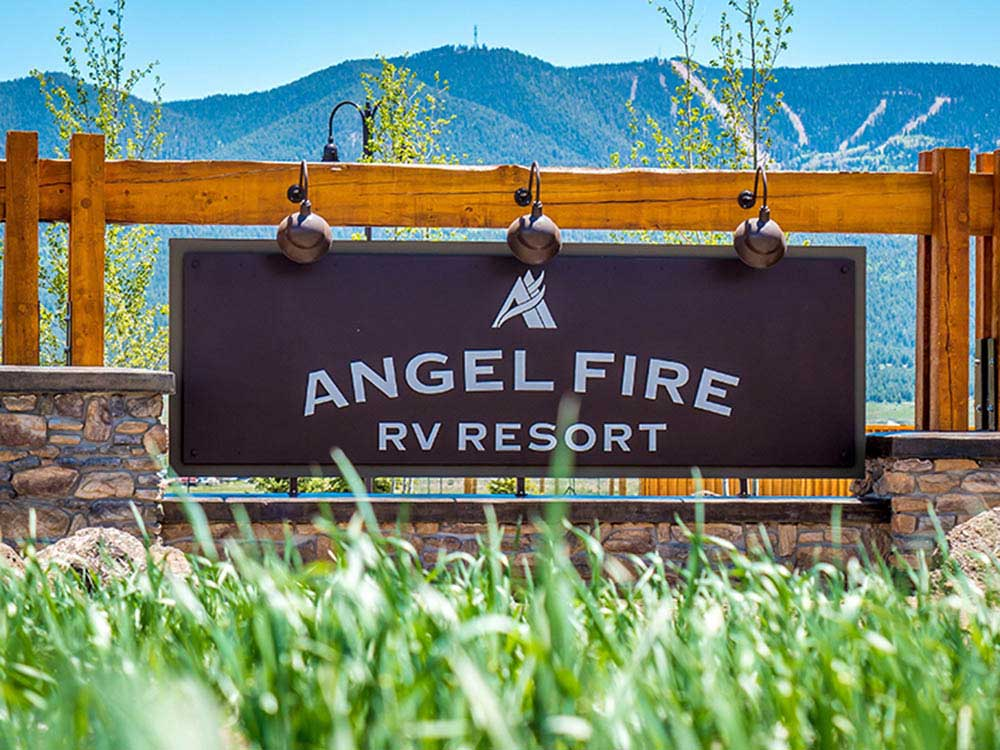 Sign at entrance to the park at ANGEL FIRE RV RESORT
