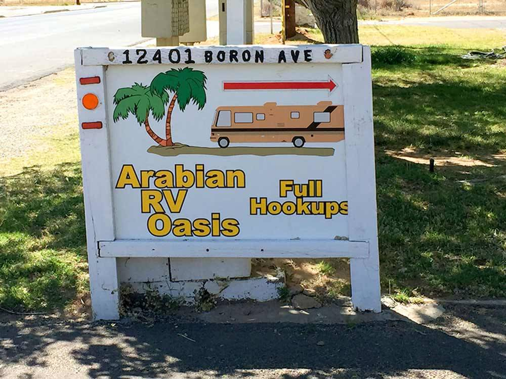 Sign leading into campground at ARABIAN RV OASIS