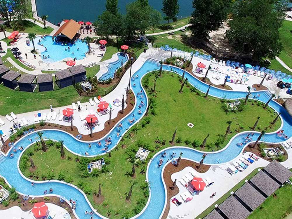 Pool bar and lazy river at REUNION LAKE RV RESORT