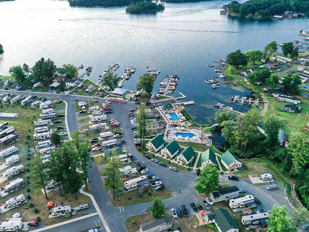 Aerial view over campground at SWAN BAY RESORT