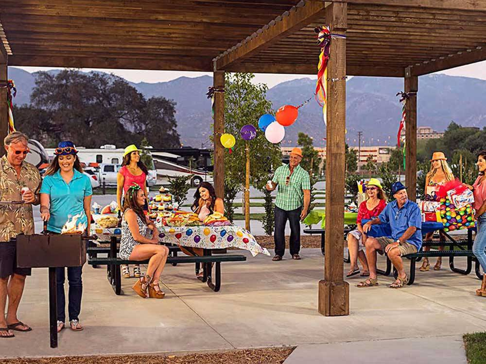 Patio area with picnic tables at PALA CASINO RV RESORT