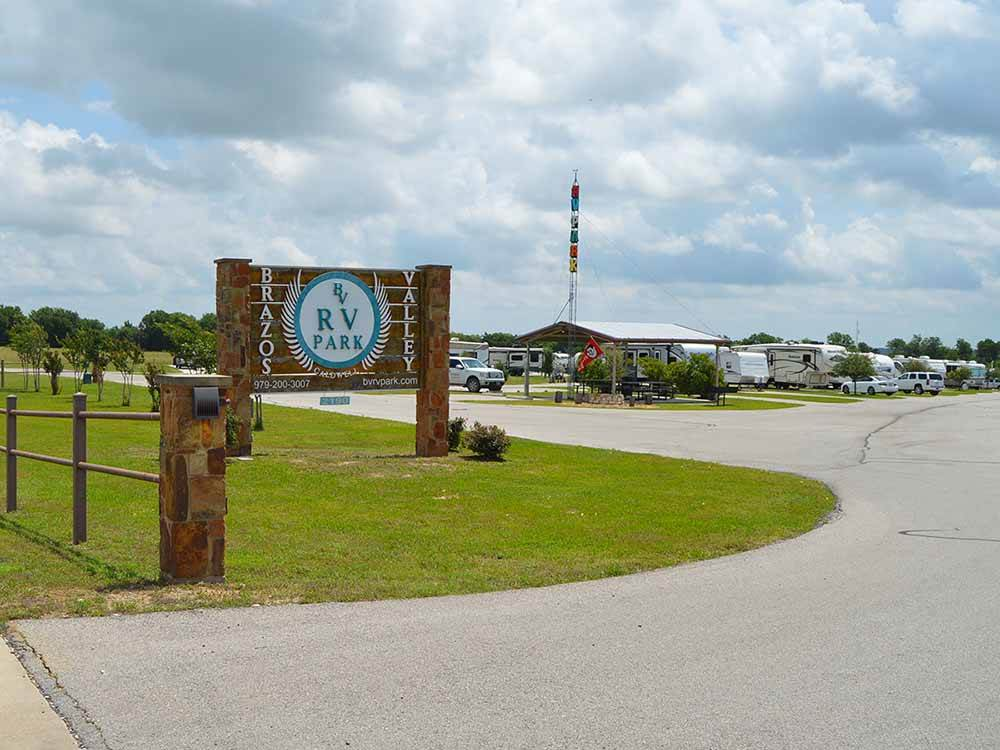 The front entrance sign at BRAZOS VALLEY RV PARK