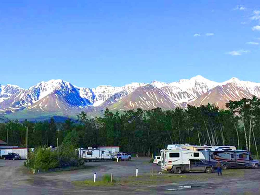 RVs and trailers at campground at HAINES JUNCTION FAS GAS  RV PARK
