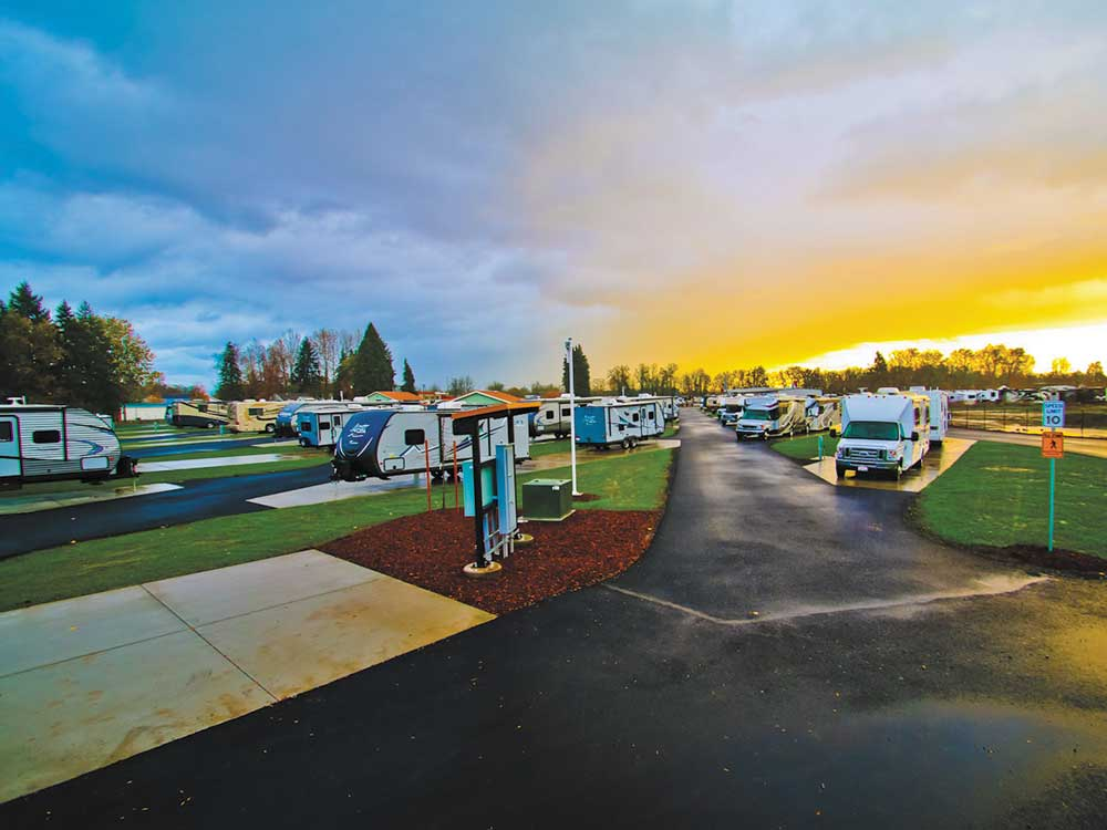 Campground at sunset at GUARANTY RV PARK
