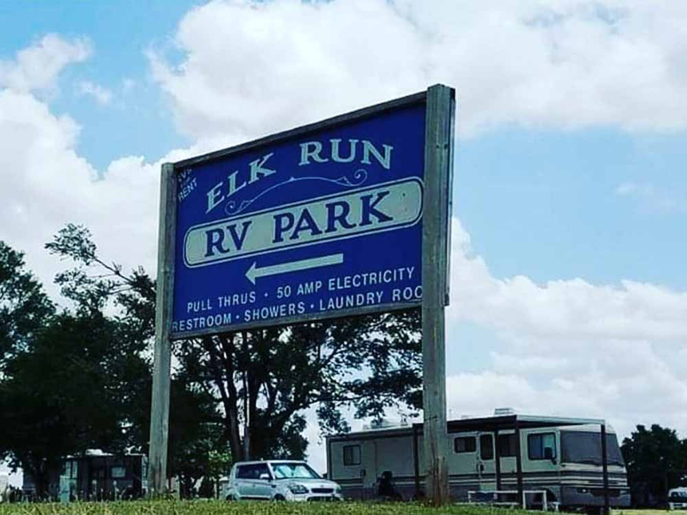 The front entrance sign at ELK RUN RV PARK