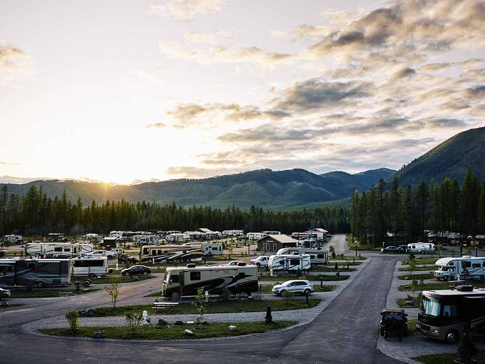 An aerial view of the RV sites at WEST GLACIER RV PARK  CABINS