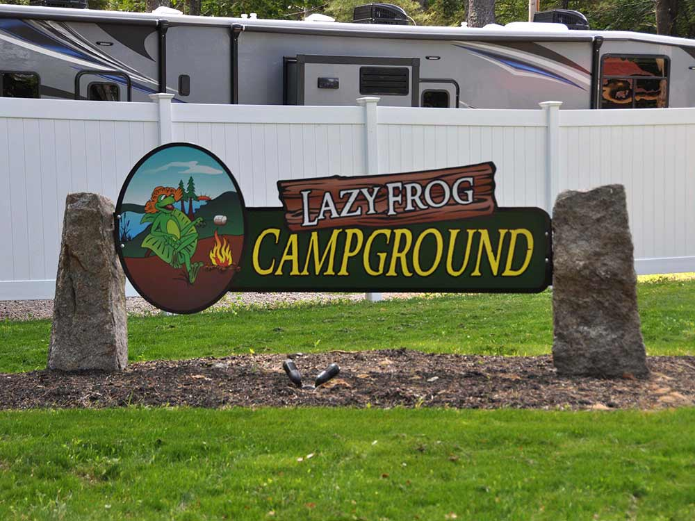 Sign at entrance of RV park at LAZY FROG CAMPGROUND