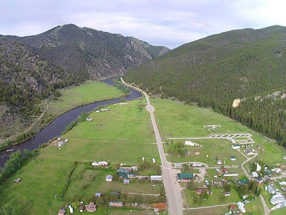 Aerial view over campground at HYDE RV PARK