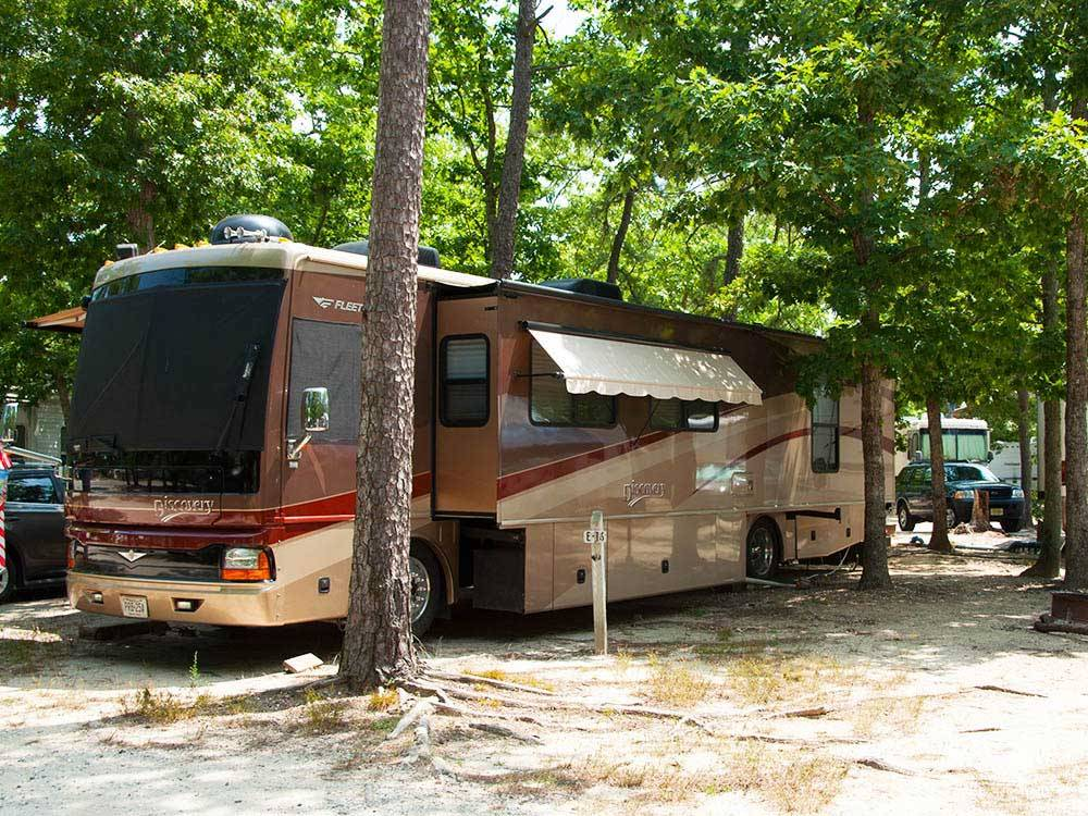 Brown and red motorhome in trees  at LAKE  SHORE RV