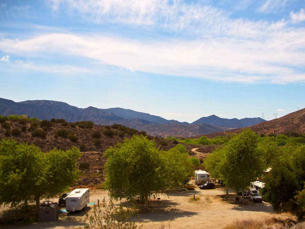 Aerial view of mountains and trees at SOLEDAD CANYON RV  CAMPING RESORT