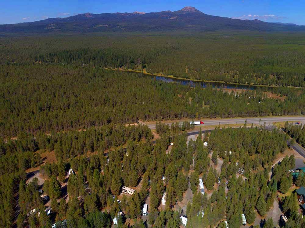 An aerial view of the RV sites at YELLOWSTONE RV PARK AT MACKS INN