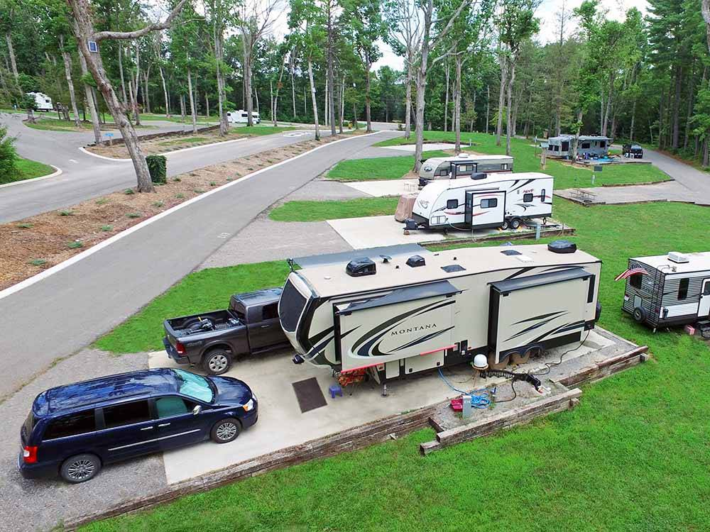 RVs and trailers at campground at BELLE RIDGE CAMPGROUND