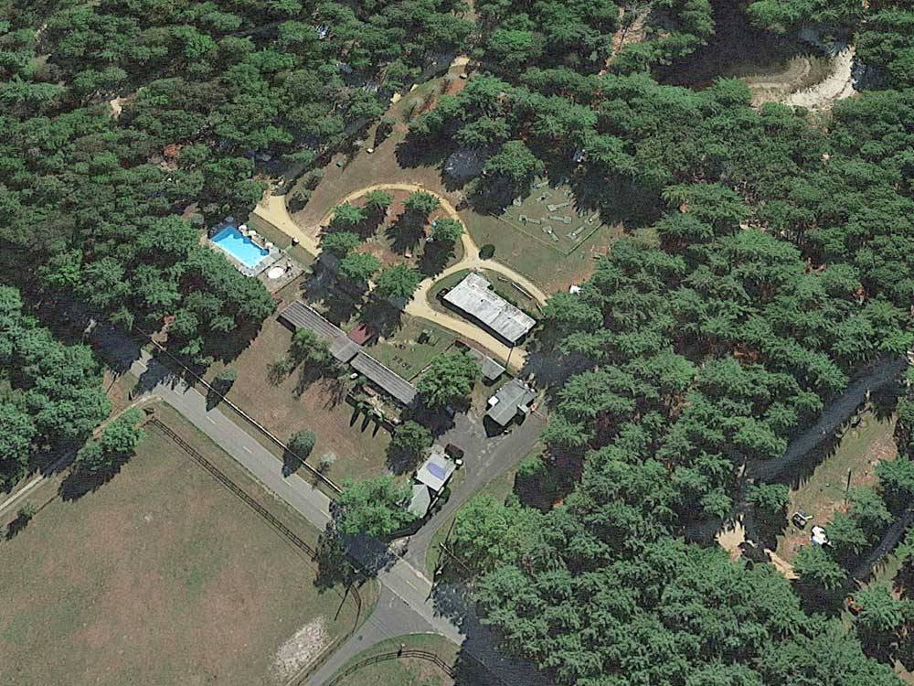 Aerial view over campground with pool at HOLLY ACRES CAMPGROUND
