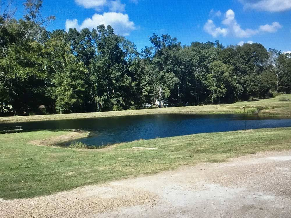 Calm watering hole surrounded by grassy lawn at GREEN TREE RV PARK  CAMPGROUND