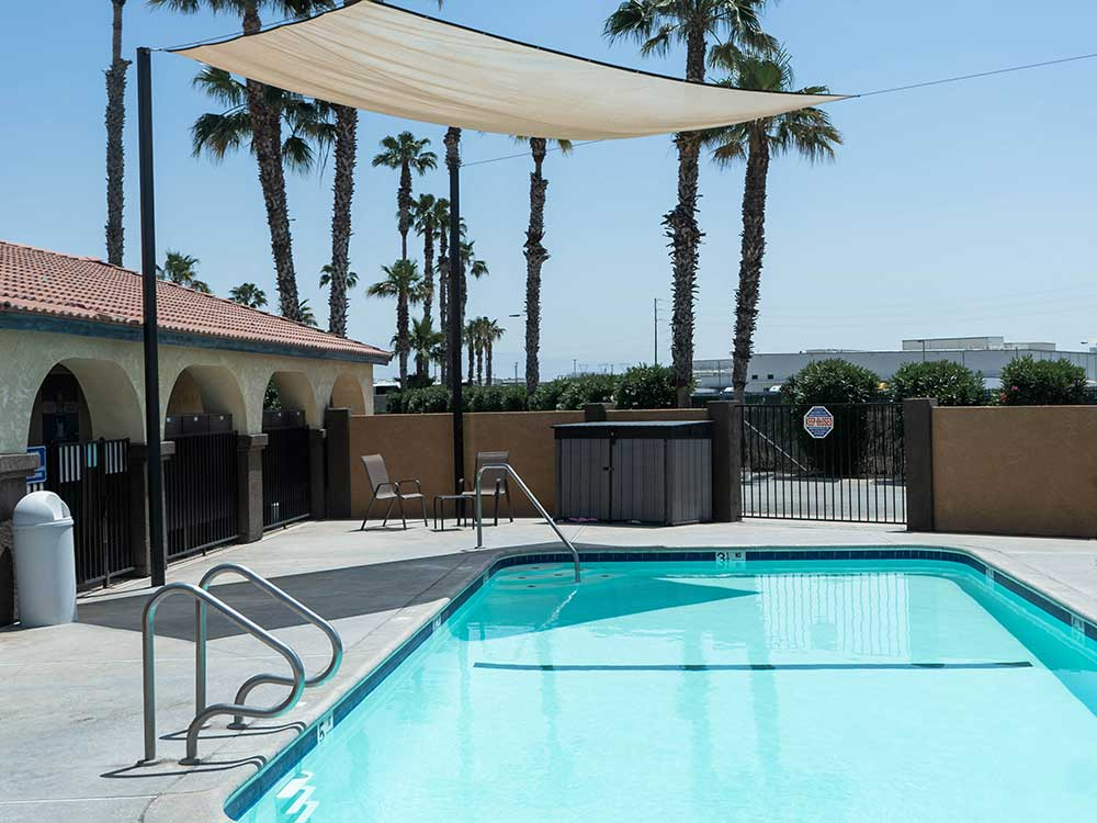 Swimming pool with palm trees at SHADY HAVEN RV PARK