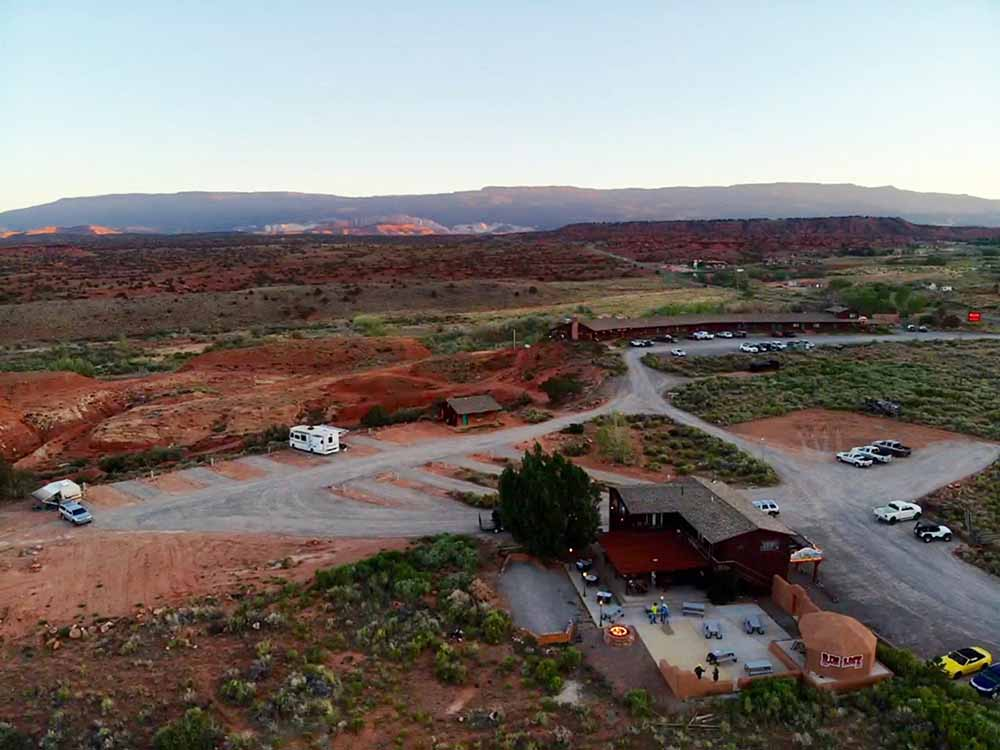An aerial view of the RV sites at RIM ROCK INN RV PARK AND RESTAURANTS