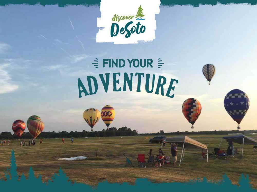 Grass field with hot air balloons at DESOTO PARISH TOURIST BUREAU