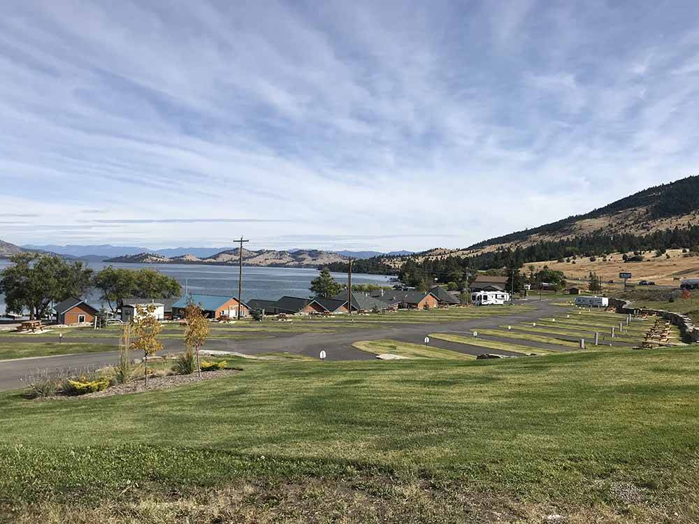 An overview of the RV sites at BIG ARM RESORT  MARINA