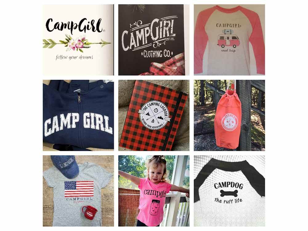 A grid of the clothing line at CAMPGIRL