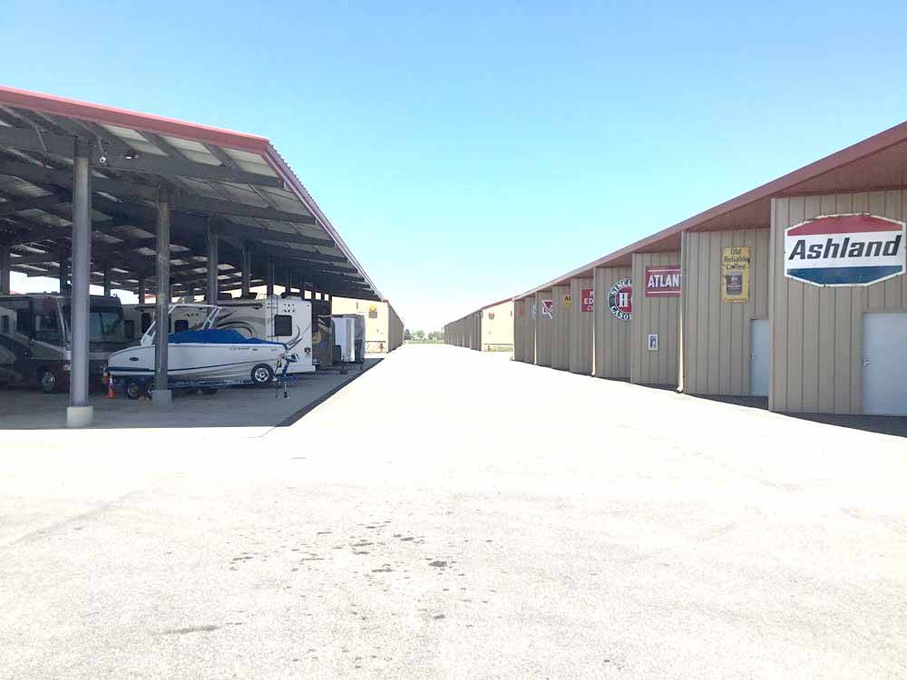 A road in-between the covered storage and enclosed storage at RV VAULT - PARKER