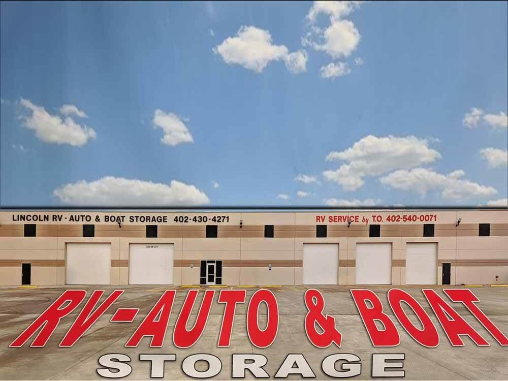 The main storage building at LINCOLN RV AUTO  BOAT STORAGE