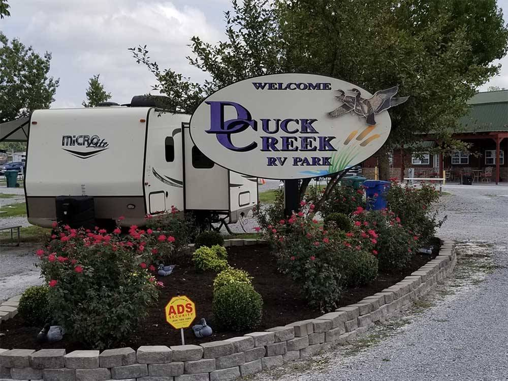 Sign at entrance of RV park at DUCK CREEK RV PARK
