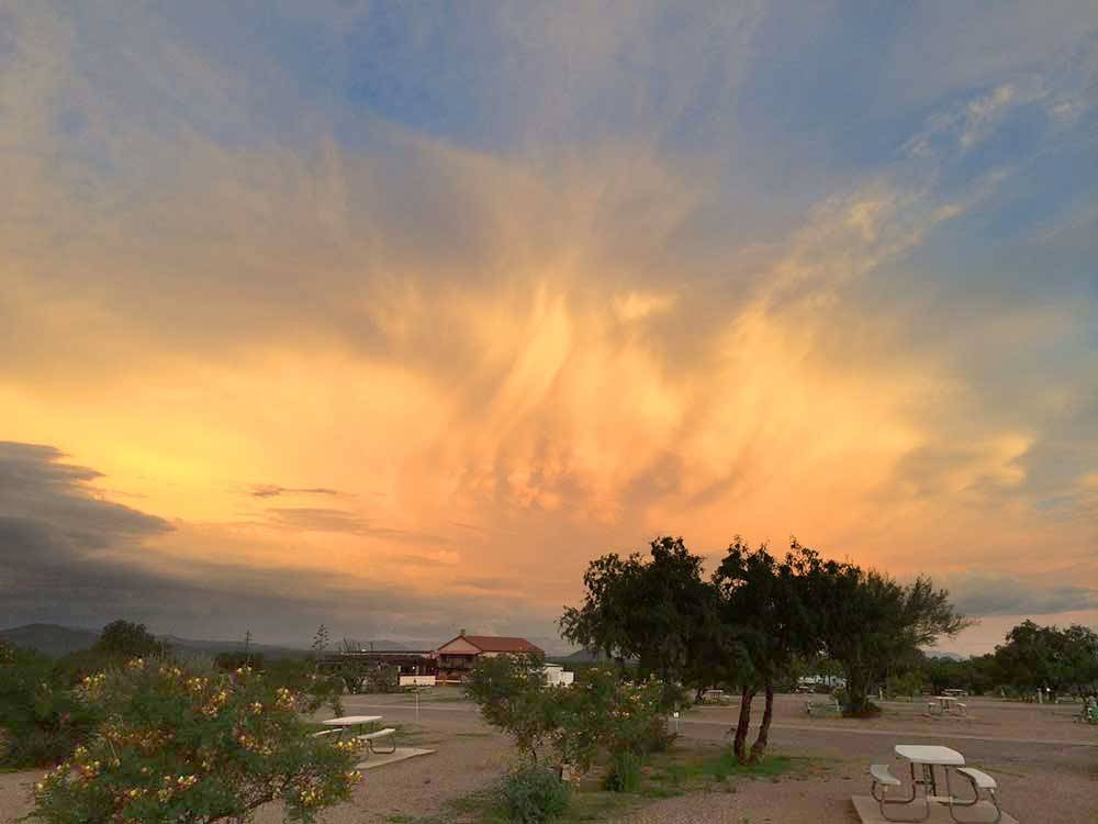 Colorful sunset over the resort at TOMBSTONE TERRITORIES RV RESORT