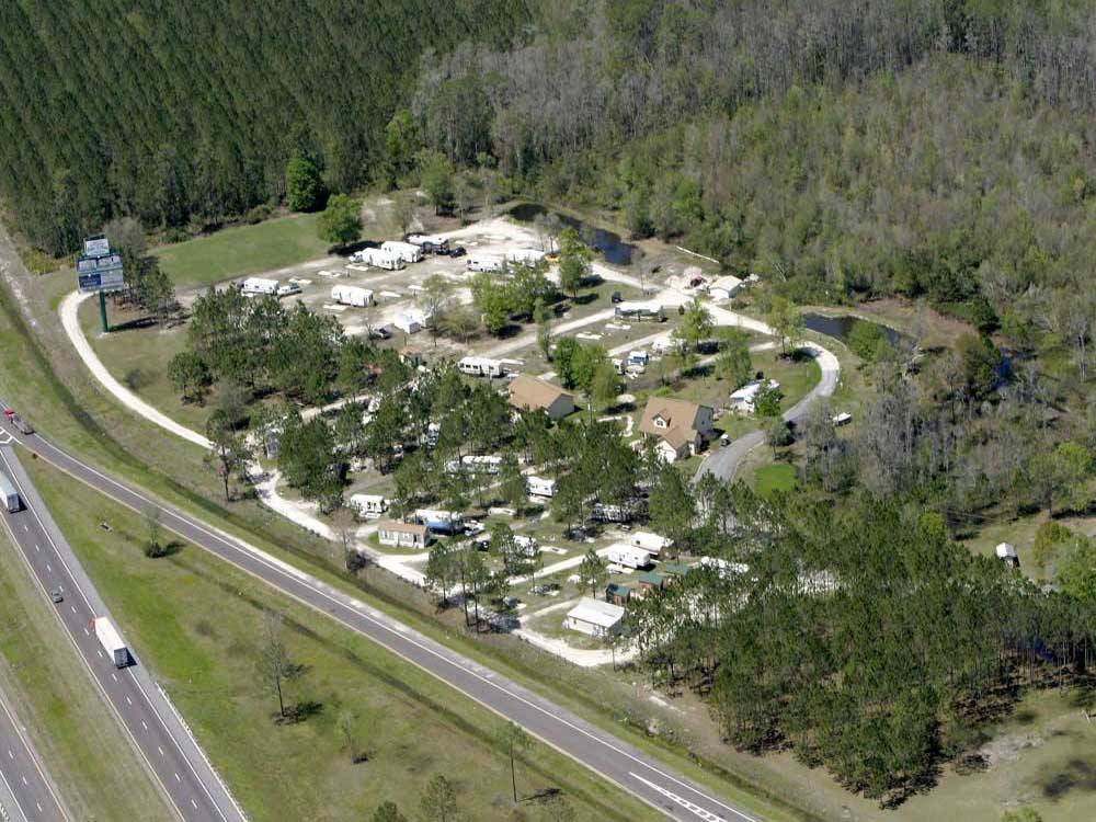 Aerial view over campground at LAKE CITY RV RESORT