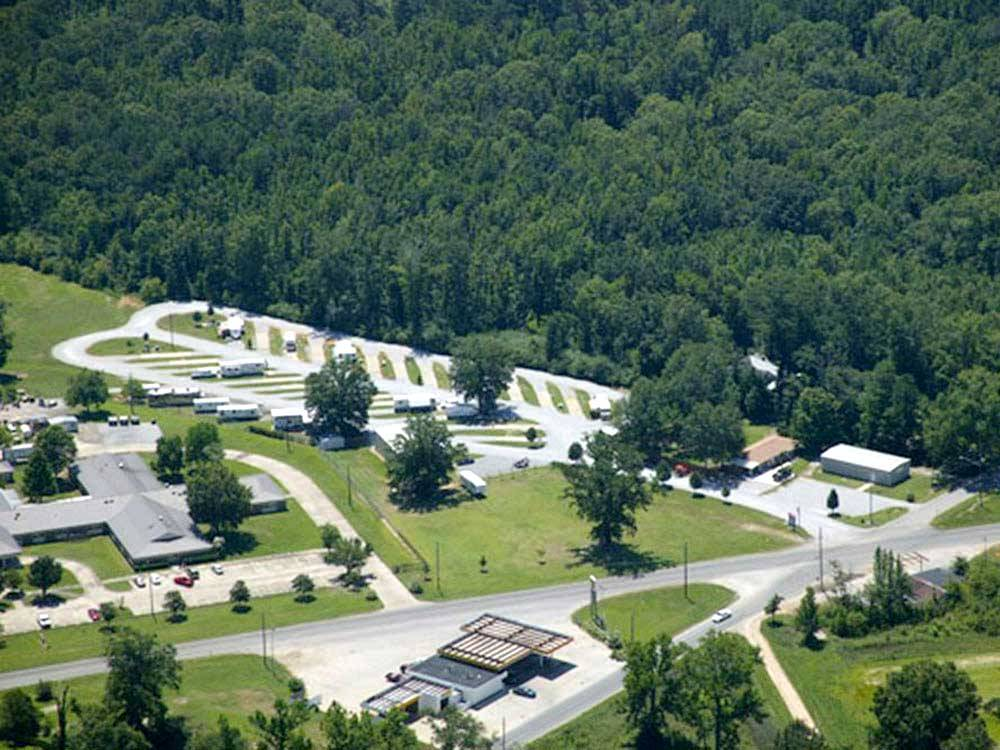 Aerial view over campground at BENCHMARK COACH AND RV PARK