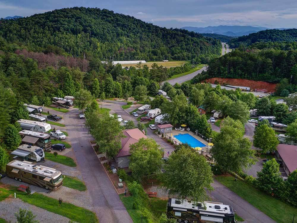 Aerial view over campground at THE GREAT OUTDOORS RV RESORT