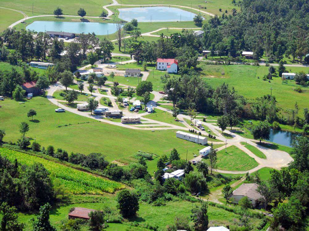 Aerial view over campground at SINGING HILLS RV PARK