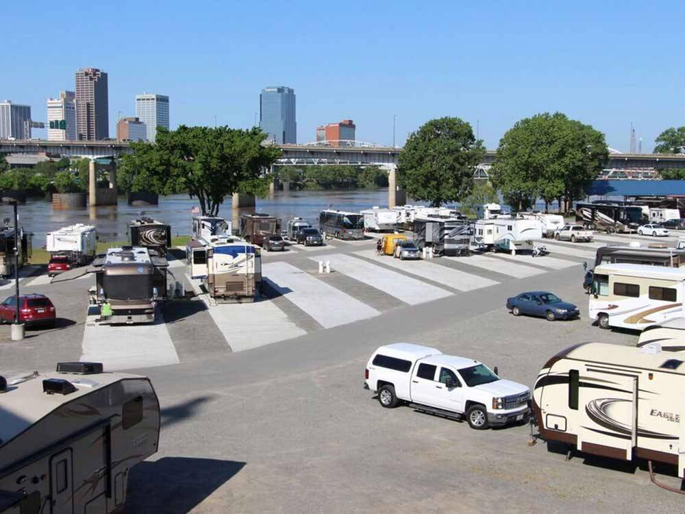 Trailers and RVs camping at DOWNTOWN RIVERSIDE RV PARK