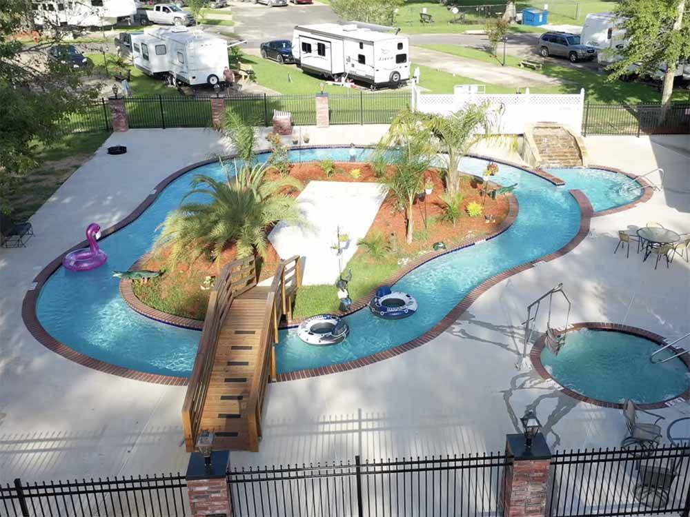 Aerial view over campground at TWELVE OAKS RV PARK