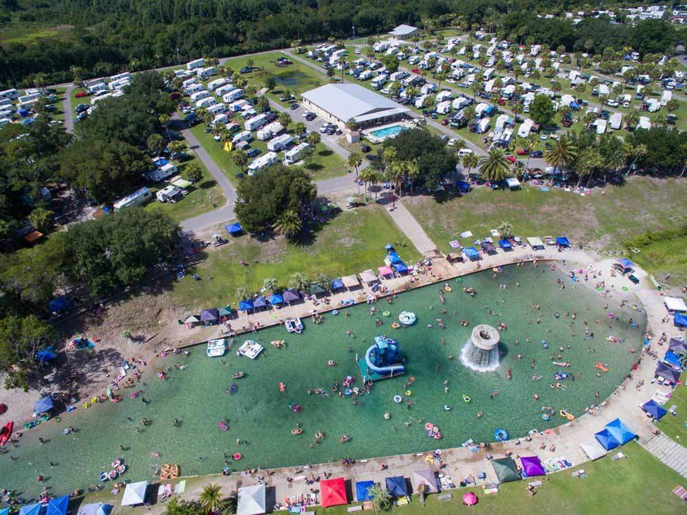 Aerial view of swimming area at WEKIVA FALLS RV RESORT