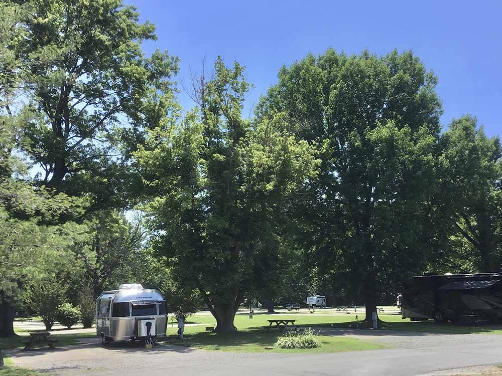 Grassy park with RVs in gravel sites at THE LANDING POINT RV PARK
