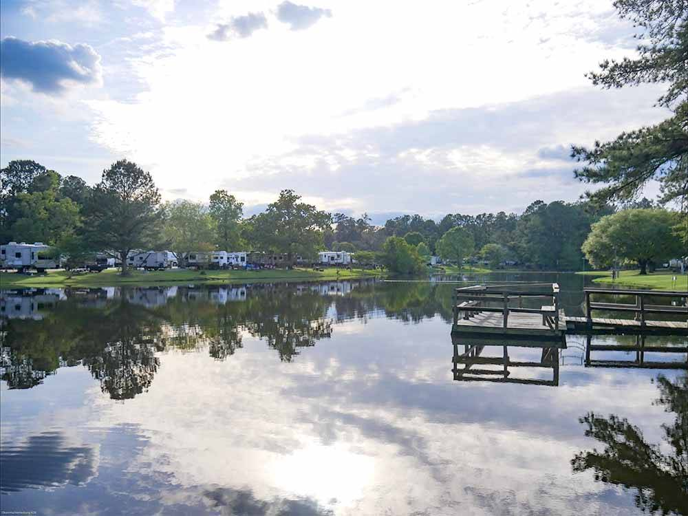 Trailers camping on the water at OKATOMA RESORT  RV PARK