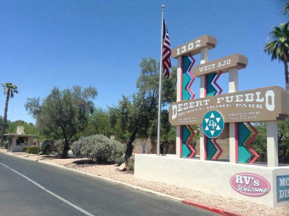 Sign leading into campground resort at DESERT PUEBLO MHP  RV PARK