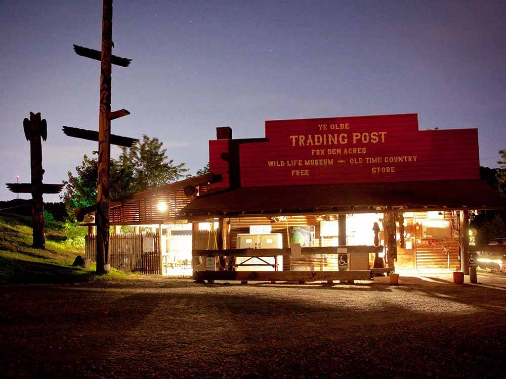 A view of the trading post store at FOX DEN ACRES CAMPGROUND