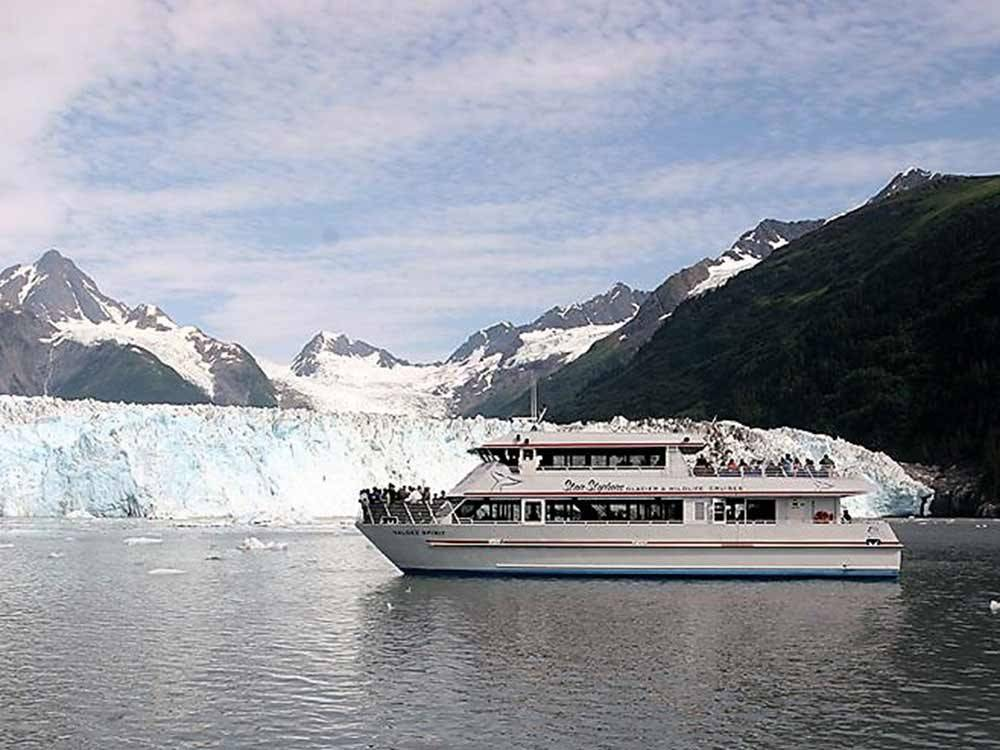 Yacht on the water at STAN STEPHENS GLACIER  WILDLIFE CRUISES