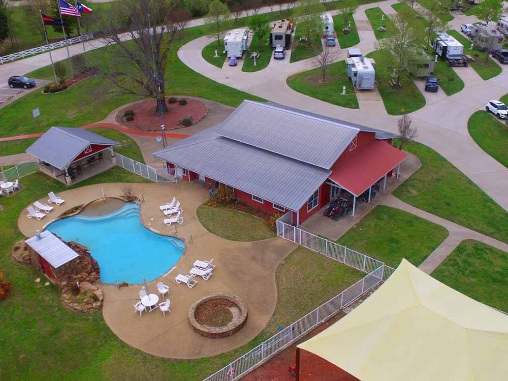 Aerial view of playground and pool at MILL CREEK RANCH RESORT