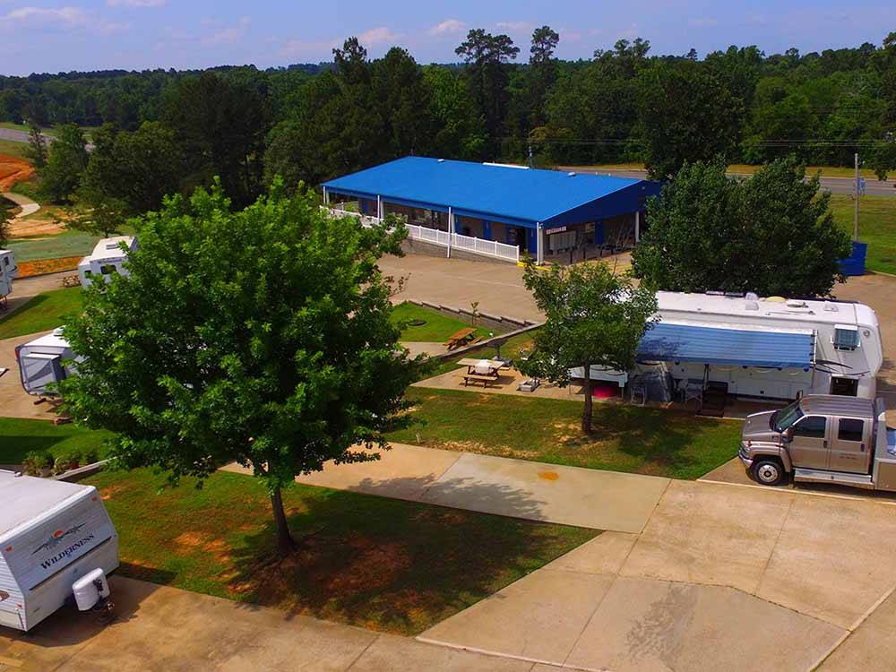 Aerial view over campground at SHALLOW CREEK RV RESORT